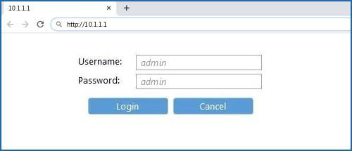 10.1.1.1 default username password