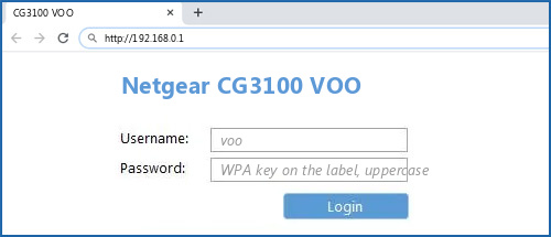 Netgear CG3100 VOO router default login