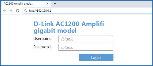 D-Link AC1200 Amplifi gigabit model router default login