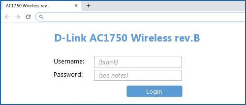 D-Link AC1750 Wireless rev.B router default login