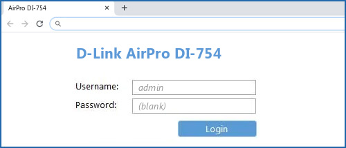 D-Link AirPro DI-754 router default login