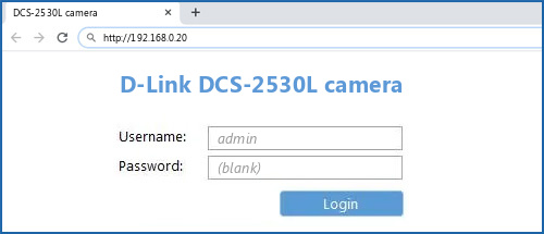 D-Link DCS-2530L camera router default login
