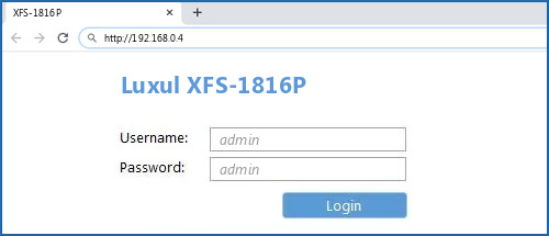 Luxul XFS-1816P router default login