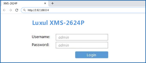 Luxul XMS-2624P router default login