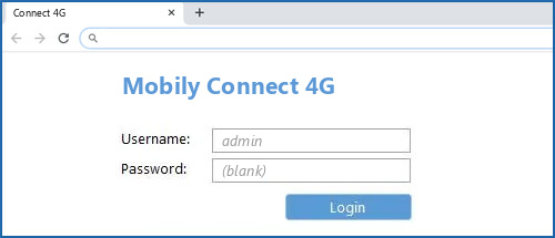 Mobily Connect 4G router default login