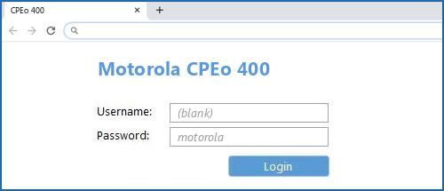 Motorola CPEo 400 router default login