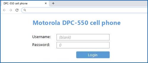 Motorola DPC-550 cell phone router default login