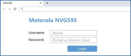 Motorola NVG595 router default login