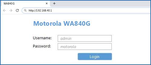 Motorola WA840G router default login