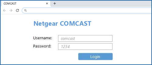 Netgear COMCAST router default login