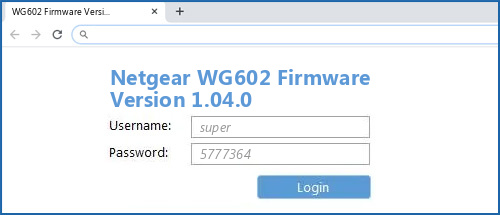 Netgear WG602 Firmware Version 1.04.0 router default login