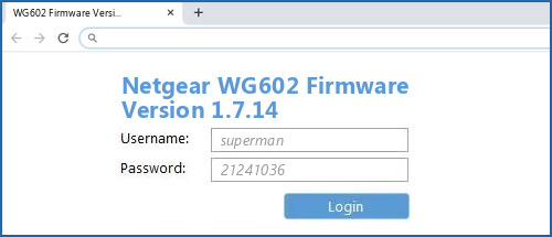 Netgear WG602 Firmware Version 1.7.14 router default login