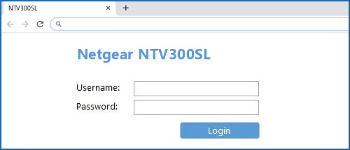 Netgear NTV300SL router default login
