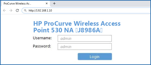 HP ProCurve Wireless Access Point 530 NA (J8986A) router default login