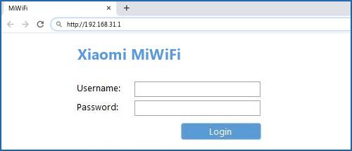 Xiaomi MiWiFi router default login