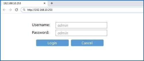 192.168.10.253 default username password