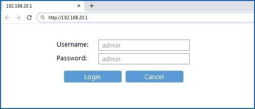 192.168.20.1 default username password