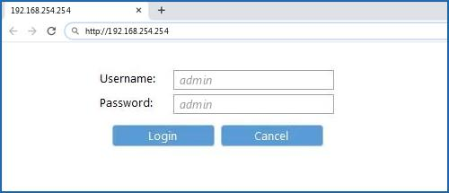 192.168.254.254 default username password