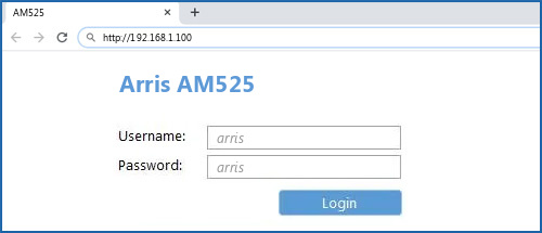 Arris AM525 router default login
