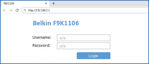 Belkin F9K1106 router default login