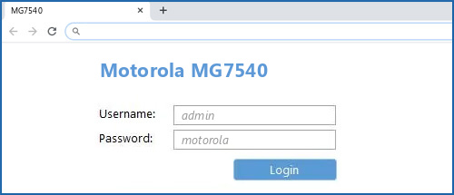 Motorola MG7540 router default login