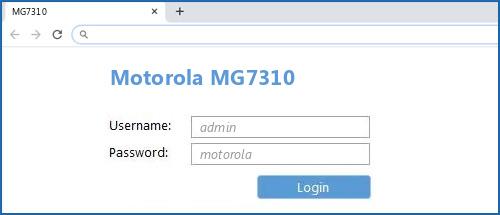 Motorola MG7310 router default login