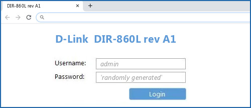 D-Link  DIR-860L rev A1  router default login