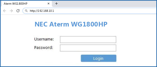 NEC Aterm WG1800HP router default login