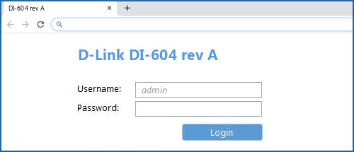 D-Link DI-604 rev A router default login