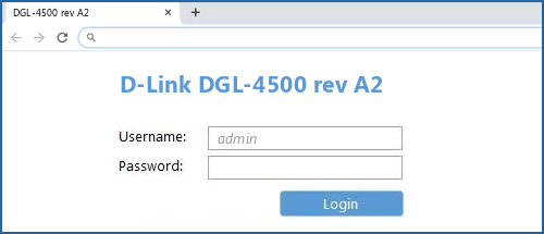 D-Link DGL-4500 rev A2 router default login