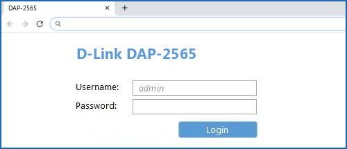 D-Link DAP-2565 router default login