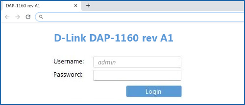 D-Link DAP-1160 rev A1 router default login