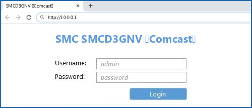 SMC SMCD3GNV (Comcast) router default login