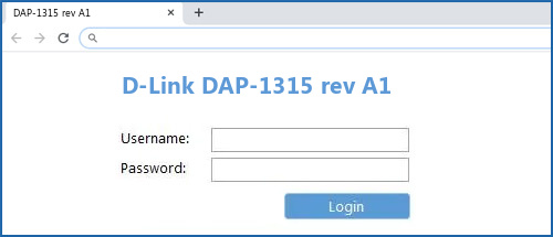 D-Link DAP-1315 rev A1 router default login