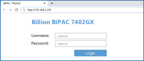 Billion BiPAC 7402GX router default login