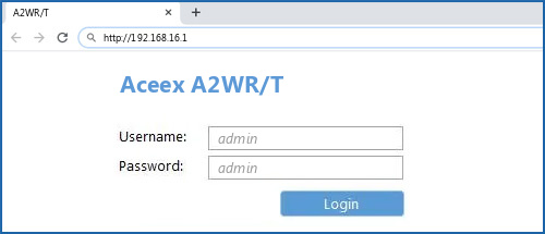 Aceex A2WR/T router default login