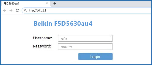 Belkin F5D5630au4 router default login