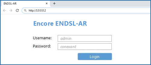 Encore ENDSL-AR router default login