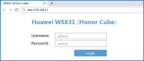 Huawei WS831 (Honor Cube) router default login