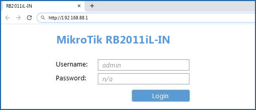 MikroTik RB2011iL-IN - Default login IP, default username & password