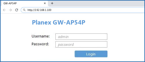 Planex GW-AP54P router default login