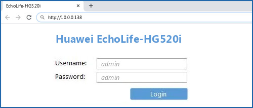 Huawei EchoLife-HG520i router default login